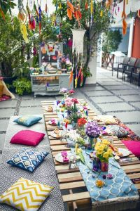 Colorful guest table from a Boho Tribal Birthday Party on ...