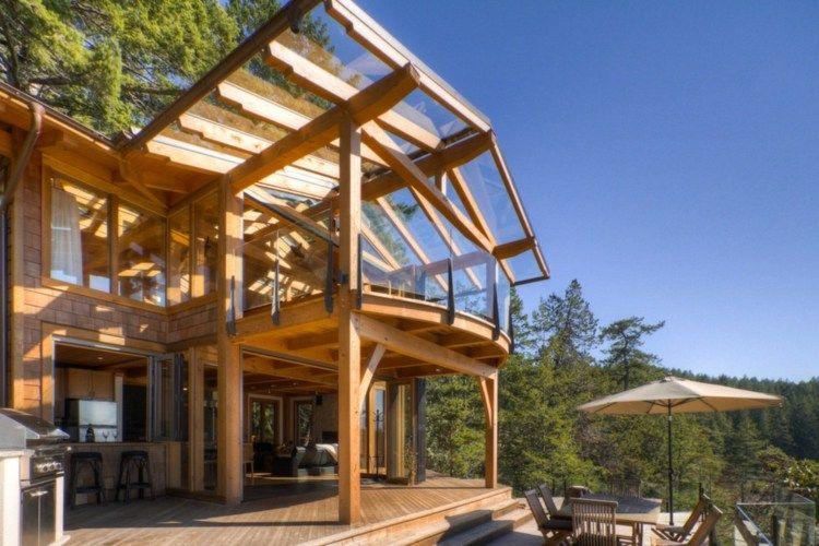 Sonnenschutz Mit Terrassenüberdachung Aus Glas Und Holz Terrasse