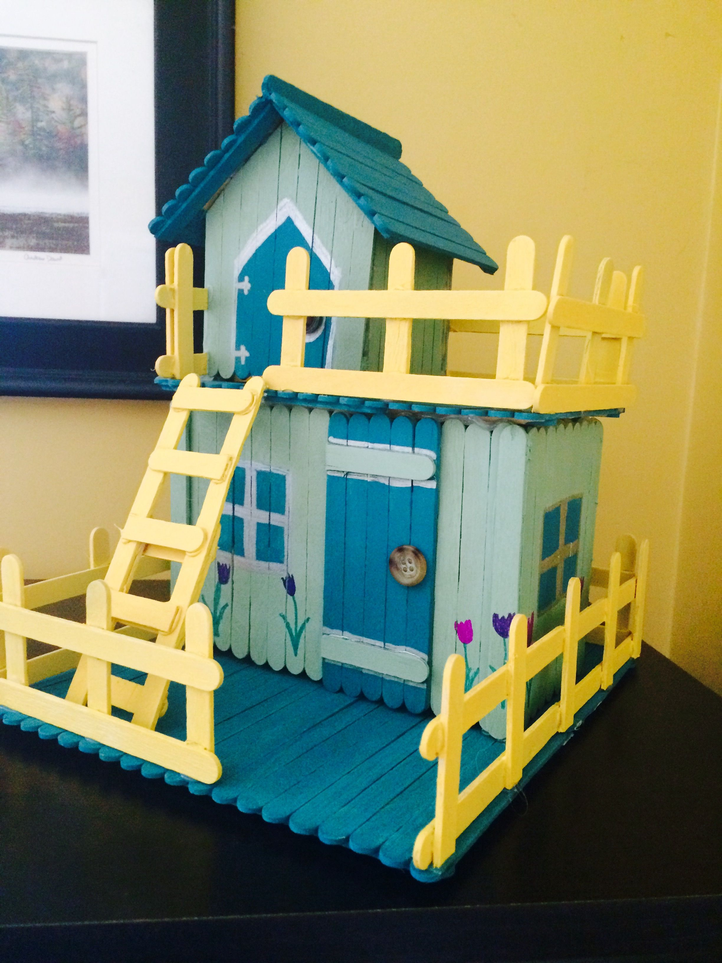 Cute Popsicle Stick House Creative Crafts Pinterest Popsicle