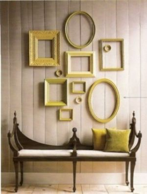 Empty frame gallery for dining rm wall use faded golds  wood frames instead of benchesdecor ideaswall also rh pinterest