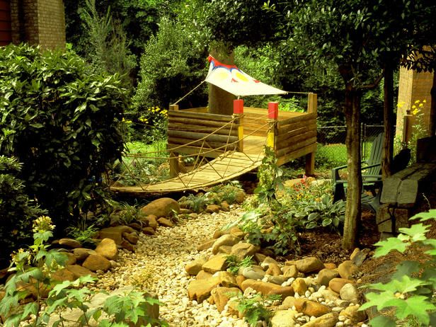 A Dry Creek Bed And Whimsical Children's Fort Transform A