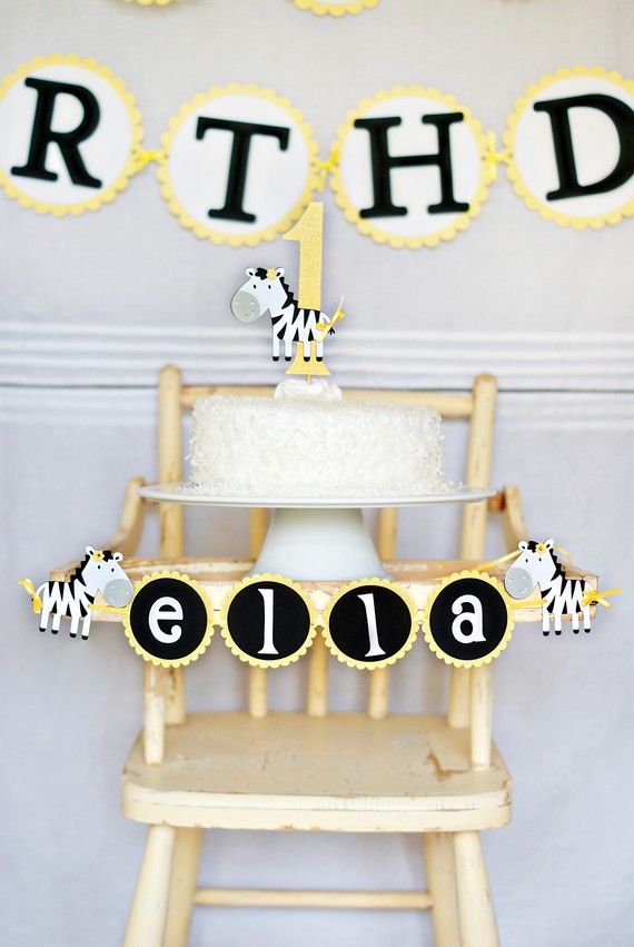 zebra high chair chicco travel instructions sassy banner smash cakes and perfect set up for a first birthday