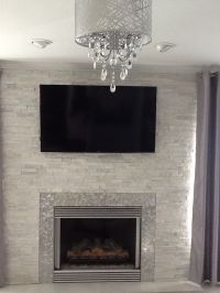 Modern / Contemporary White quartz ledger stone fireplace