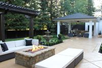rectangular fire pit Patio Traditional with backyard BBQ ...