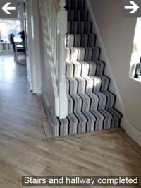 Black/Grey/White striped carpet for stairs and landing ...