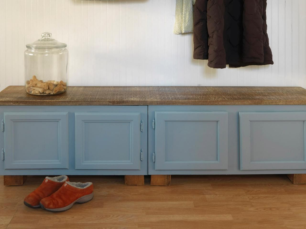 diy kitchen bench with storage collectibles how to make a mudroom using old cabinets