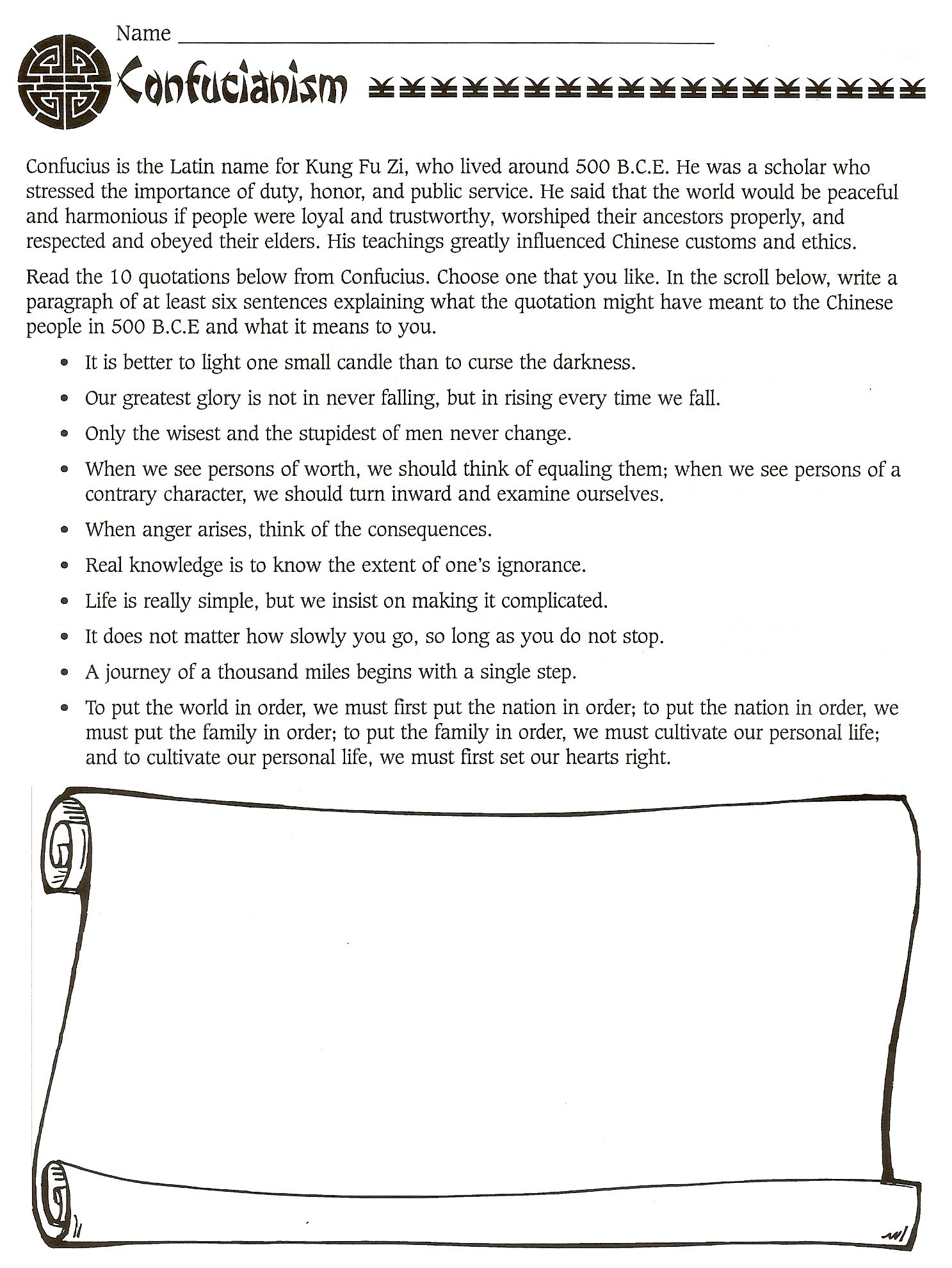 China Buddhism Worksheet