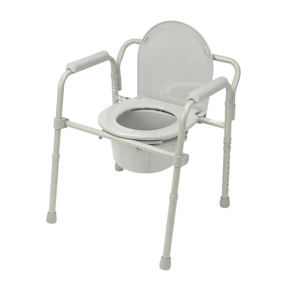 Folding Steel Bedside Commode Toilet Seat Chair Senior