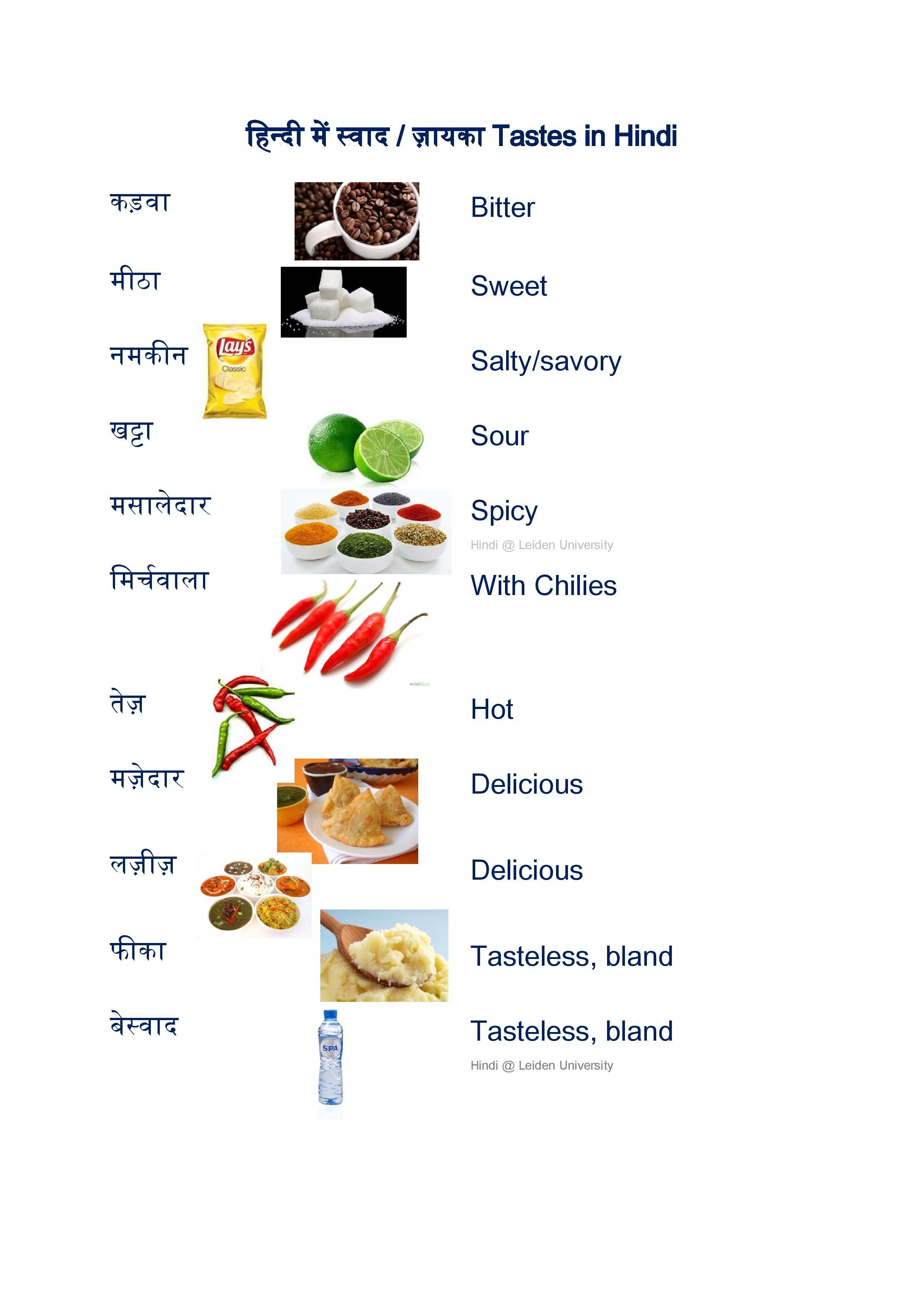 Worksheets Fruits And Tastes
