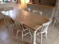 Pine kitchen table and chairs painted in Annie Sloane Old ...
