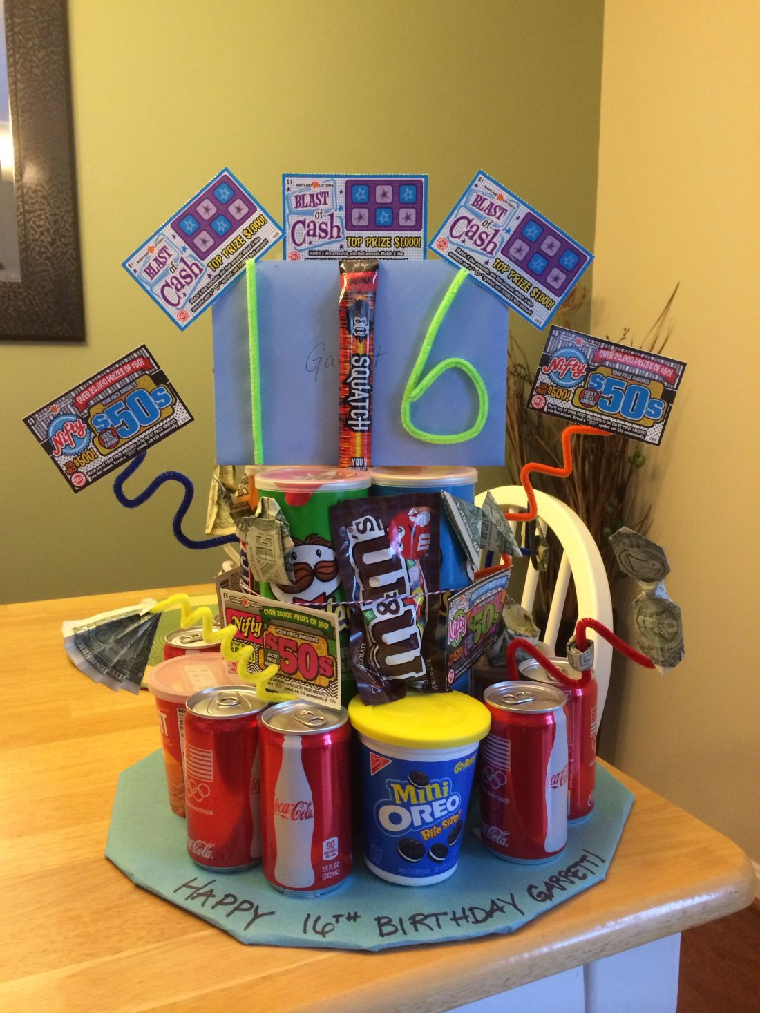 16th birthday cake for boy pringles soda cookies