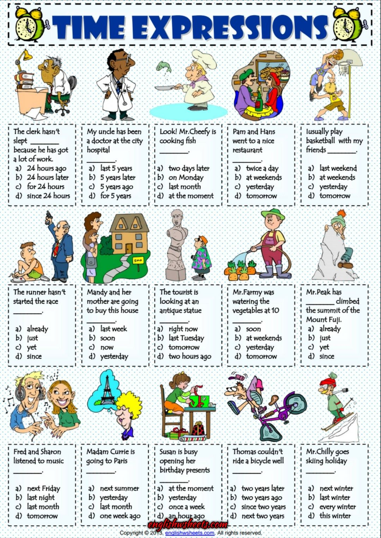 Time Expressions Esl Multiple Choice Test Worksheet