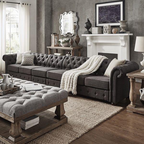 Knightsbridge Dark Grey Oversize Extra Long Tufted