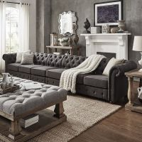 Knightsbridge Dark Grey Oversize Extra Long Tufted
