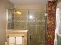 shower glass door, half wall glass, tile | Bathroom ...