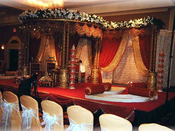 Elaborate Indian Wedding Canopy With Flowers Jewels And Beading