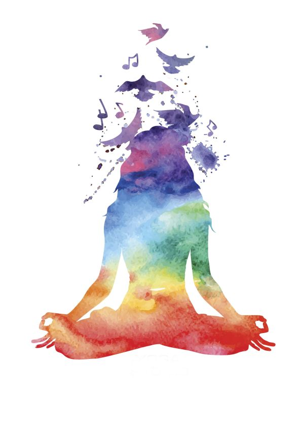 Watercolor Woman Yoga Pose