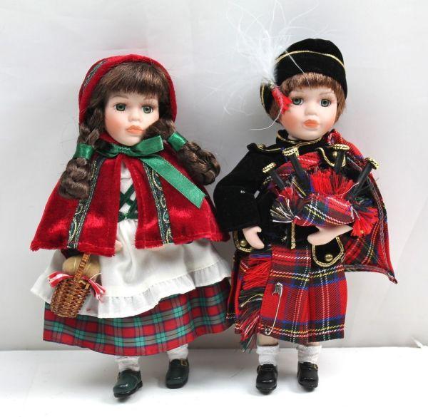 Geppeddo Porcelain Scottish Bagpipes Boy & Girl Christmas