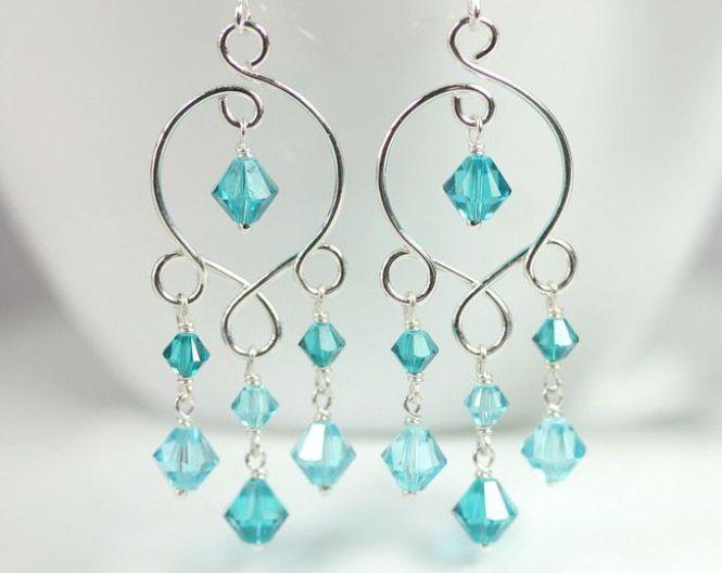 Blue Green Chandelier Earrings Wire Wred Jewelry Topaz Sterling Silver Swarovski Crystal