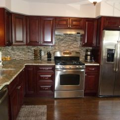 Mahogany Kitchen Cabinets Amish Island Modern Stainless Steel Appliances Granite