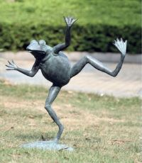 Brass Dancing Frog Water Spitter Pond Fountain Garden ...
