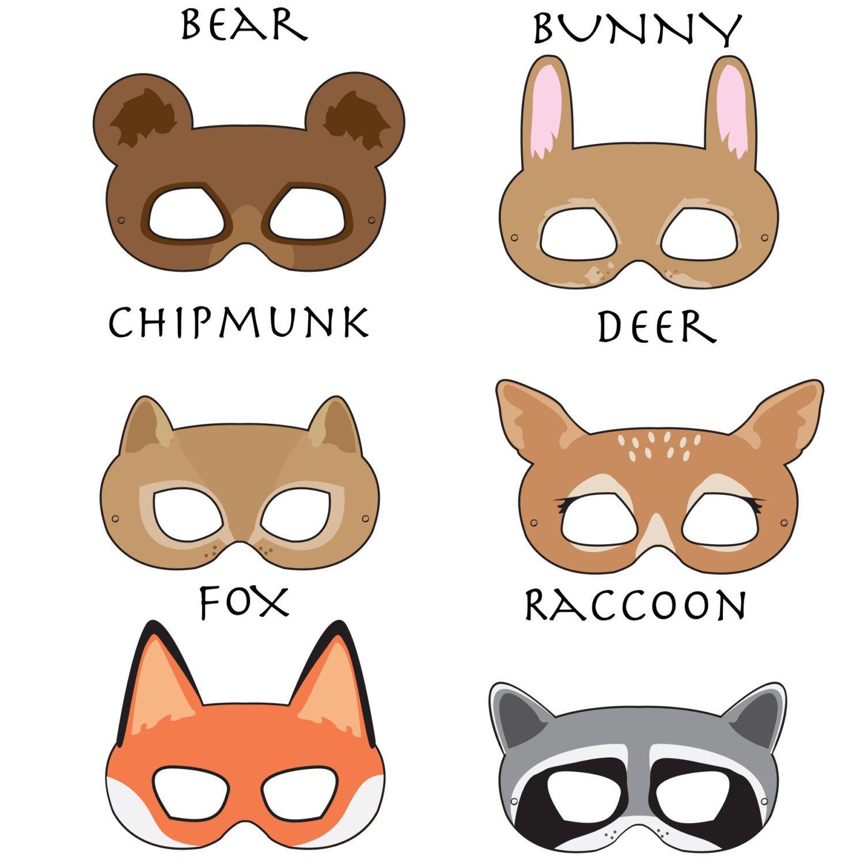 Woodland Forest Animals Printable Masks Woodland Animal Mask Bear Mask Fox Mask Raccoon Mask