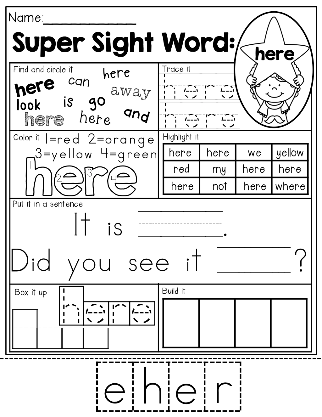 Sight Word practice! 7 different ways to practice each