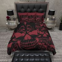 Red and Black Collage Skull Bedding | Duvet bedding ...