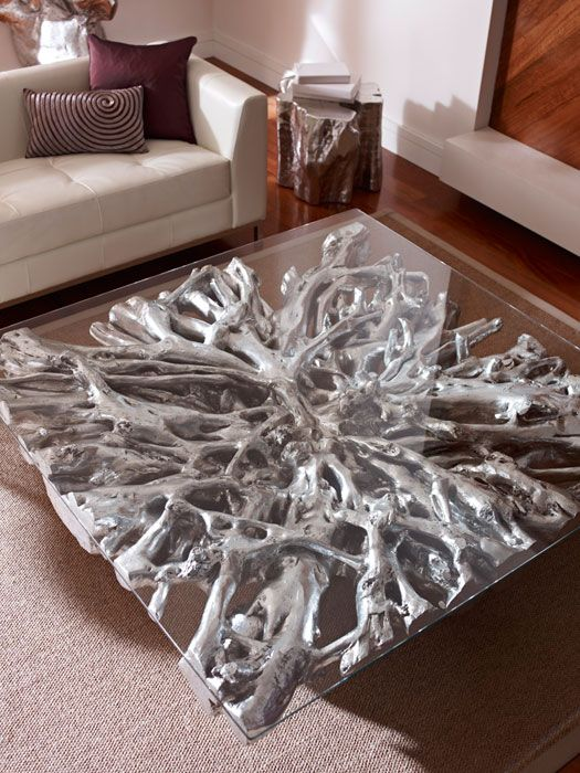 Phillips Collection  Square Root Coffee Table Silver