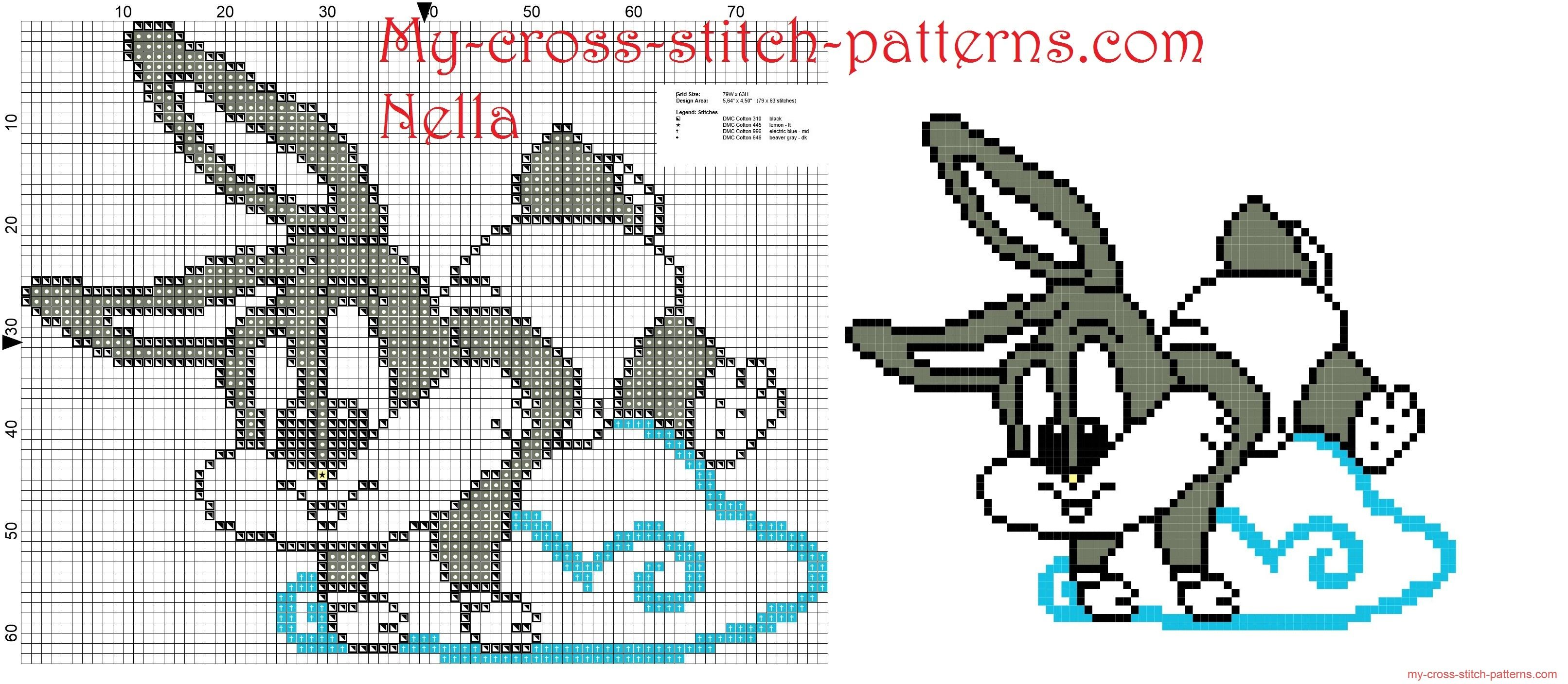 Baby Bugs Bunny On The Cloud Cross Stitch Pattern Free