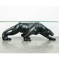 Vintage retro ceramic black panther coffee table with ...