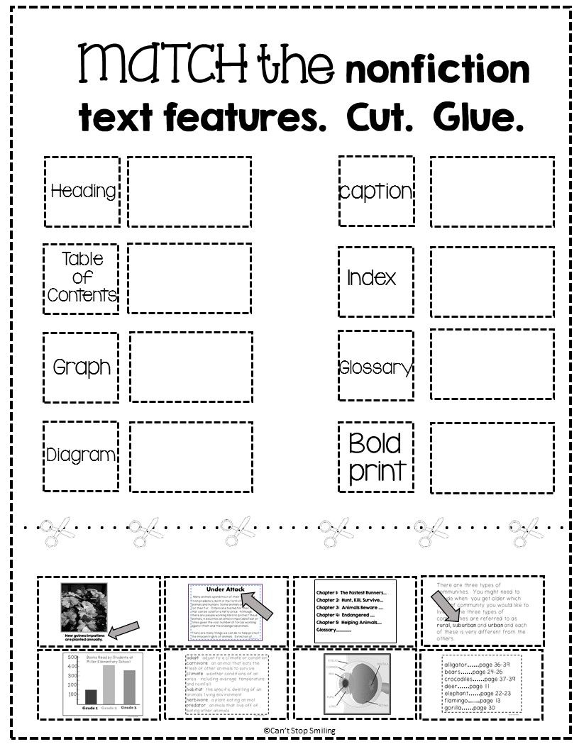 Nonfiction Text Features Worksheet Kindergarten