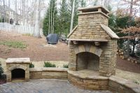 Outdoor Fireplace with Seating Wall and Wood Box ...