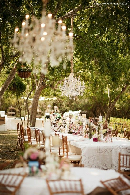 A Lovely Evening Reception Set Under The Trees With Vintage