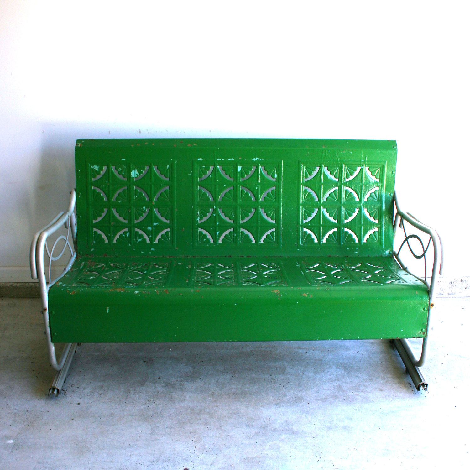 metal glider sofa lounge chair clipart spring green vintage bench industrial home
