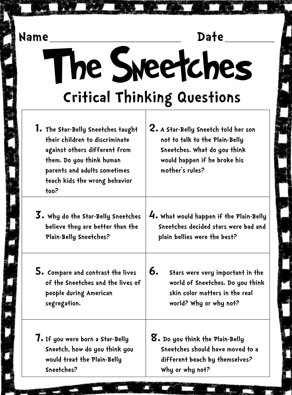 Critical Thinking Worksheet Printable