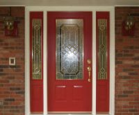 Astonishing Red Door Design Idea With Trellis, Stained