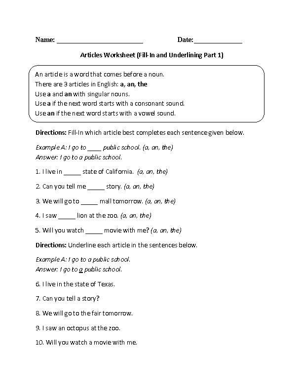 Articles Worksheet Fillin And Underlining Part 1 Intermediate  Englishlinxcom Board