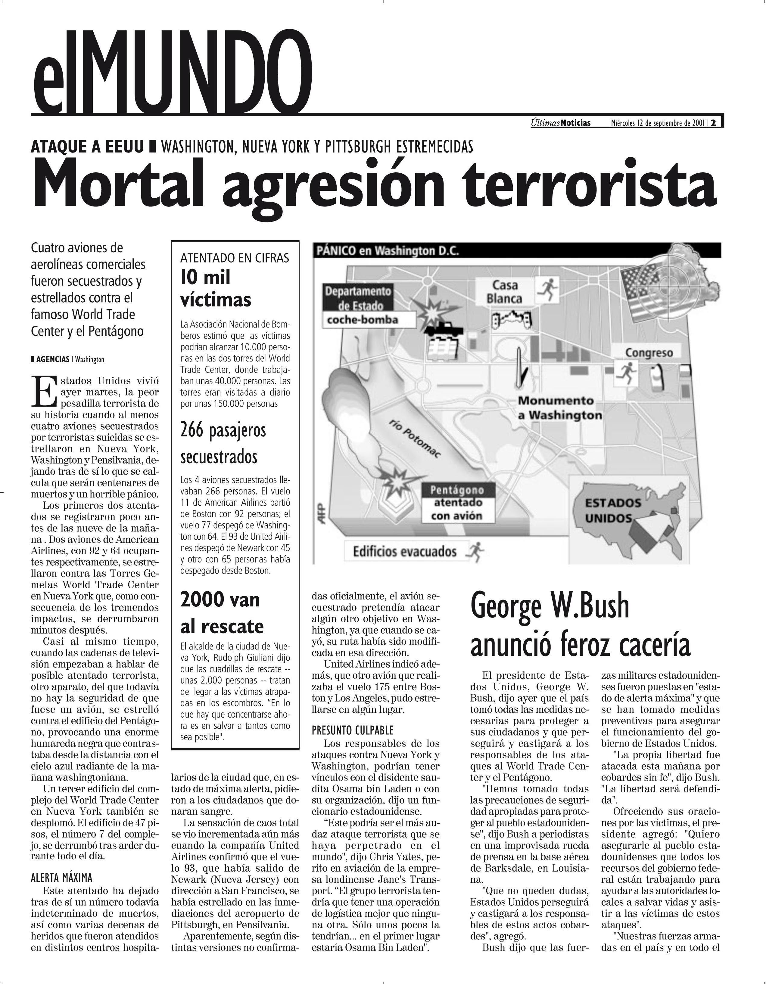 Resena Del Diario Ultimas Noticias Sobre El Atentadoa De Las Torres Gemelas En Nueva