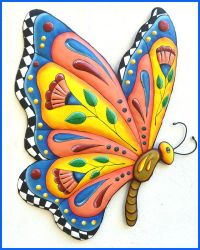 Butterfly Wall Hanging, Hand Painted Metal Whimsical Art ...