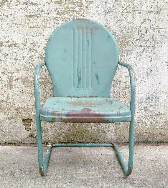 Retro Metal Lawn Chair Teal Rustic Vintage Porch Furniture