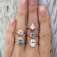 Natural Grey + White Moissanite Engagement Rings, Rose
