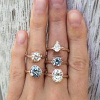 Natural Grey + White Moissanite Engagement Rings, Rose ...