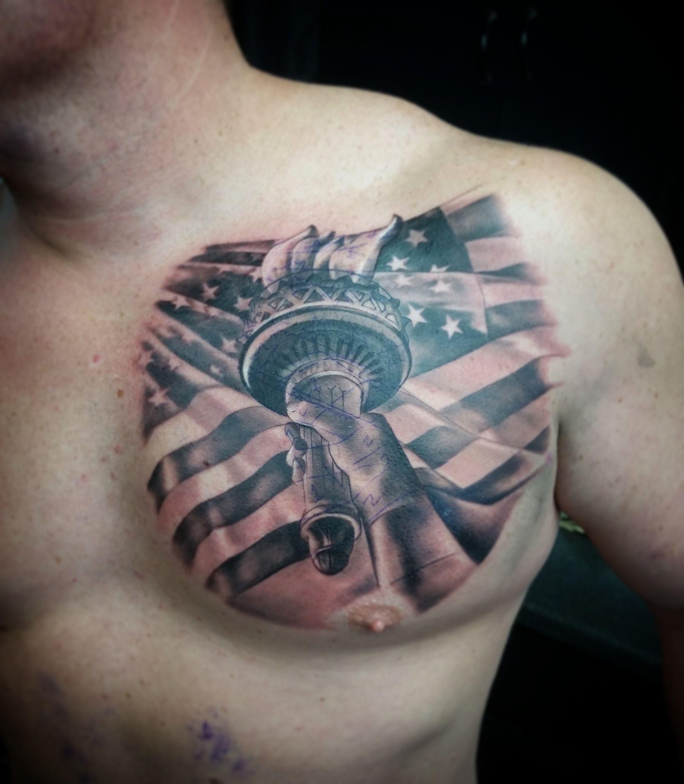 Patriotic Flag Tattoos Black And White