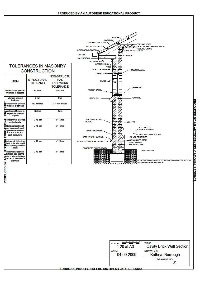 Brick Masonry Wall Section Detail #Brick Pinned by www