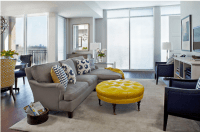 navy & yellow & gray living room - Yellow coffee table ...