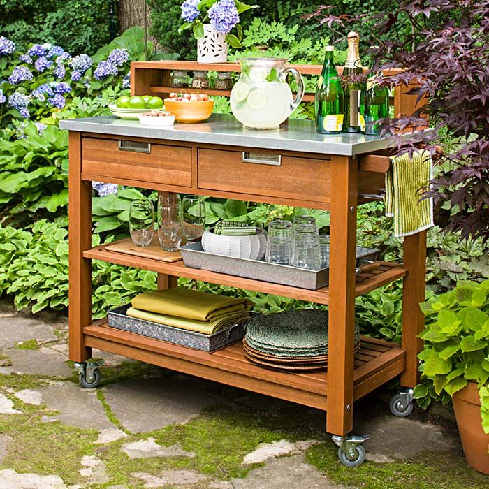 Repurpose A Potting Bench As A Food And Beverage Cart