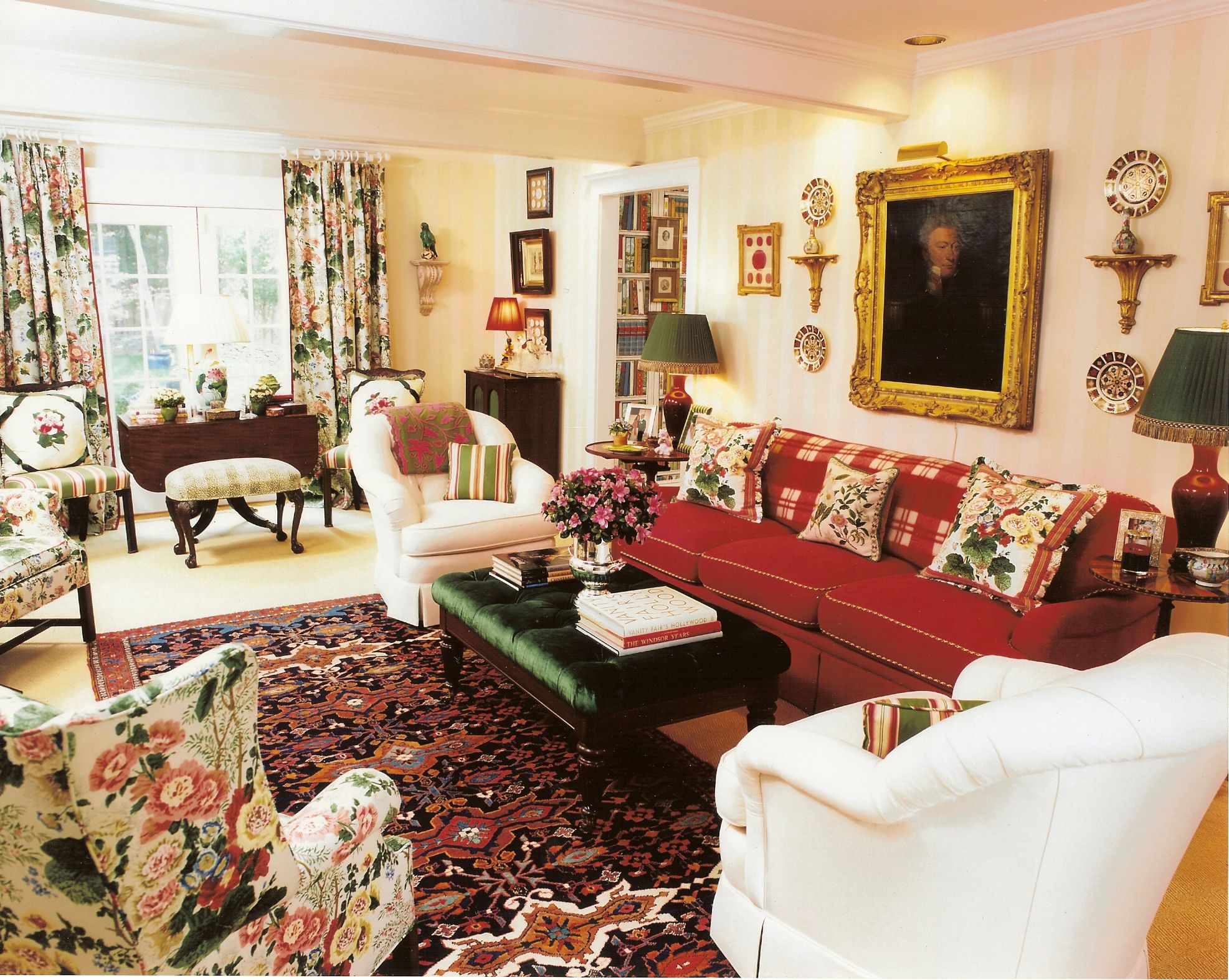 English Country Living Room, Reds, Florals