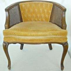 French Barrel Chair Stormtrooper Deck Mid Century Cane Back Hollywood