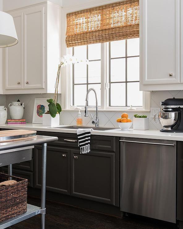 Amazing kitchen features tuxedo cabinets white upper